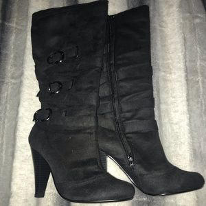 Bamboo brand black knee boots with heel. Size 5.5